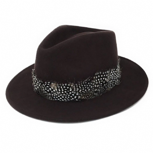 Womens Showerproof Wool Brown Fedora Hat with Country Feather Wrap Trim - Charingworth